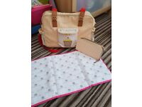 yummy mumny changing bag with unused changing mat and new matching purse