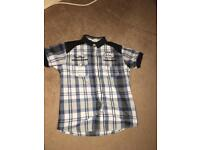 Lee copper blue white and black tartan shirt with studs age 9-10