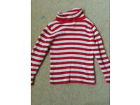 Red and white strippy polo neck jumper