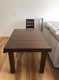 Akita Walnut 4-6 Seater Extending Dining Table with 4 matching Dining Chairs 249 GBP