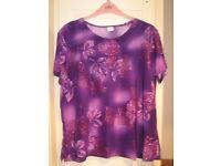 purple glittery leaf print top size 14
