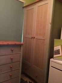 Washed green pine wardrobe and matching chest of drawers