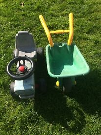 Ride on tractor and wheel barrow