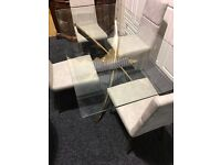 NEW-Modern dining table and four leather chairs