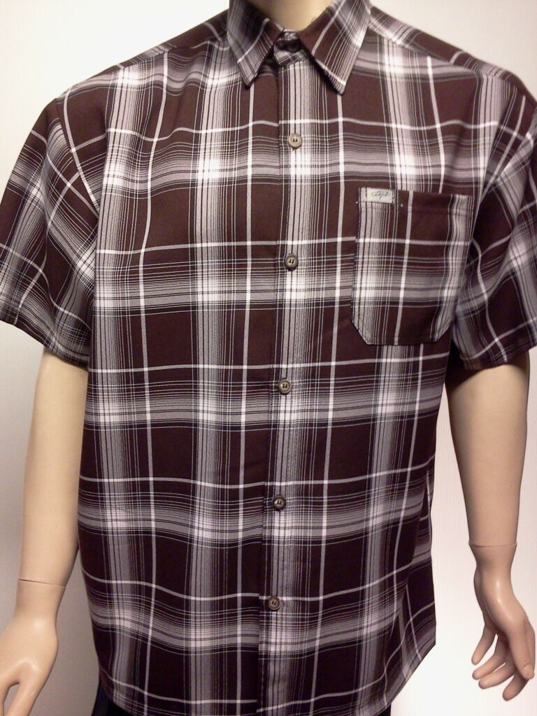 Caltop mens plaid short sleeve shirt free shipping dress for Size 5x mens dress shirts
