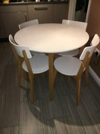 Hygena white Rye kitchen dining table and 4 chairs