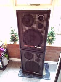 Pair of McCoy Large Professional PA Band Speakers Mc Coy in black.
