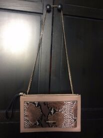 BARGAIN* HOUSE CLEARANCE * like NEW DUNE LONDON envelope Handbags brown with snake design gold chain