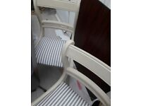 1 to 6 white and grey refurbished dining chairs