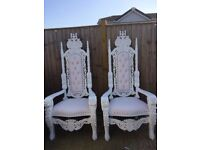 His & Hers (King & Queen) white throne chairs £120, flower wall £100, chairs covers 50p. Hire