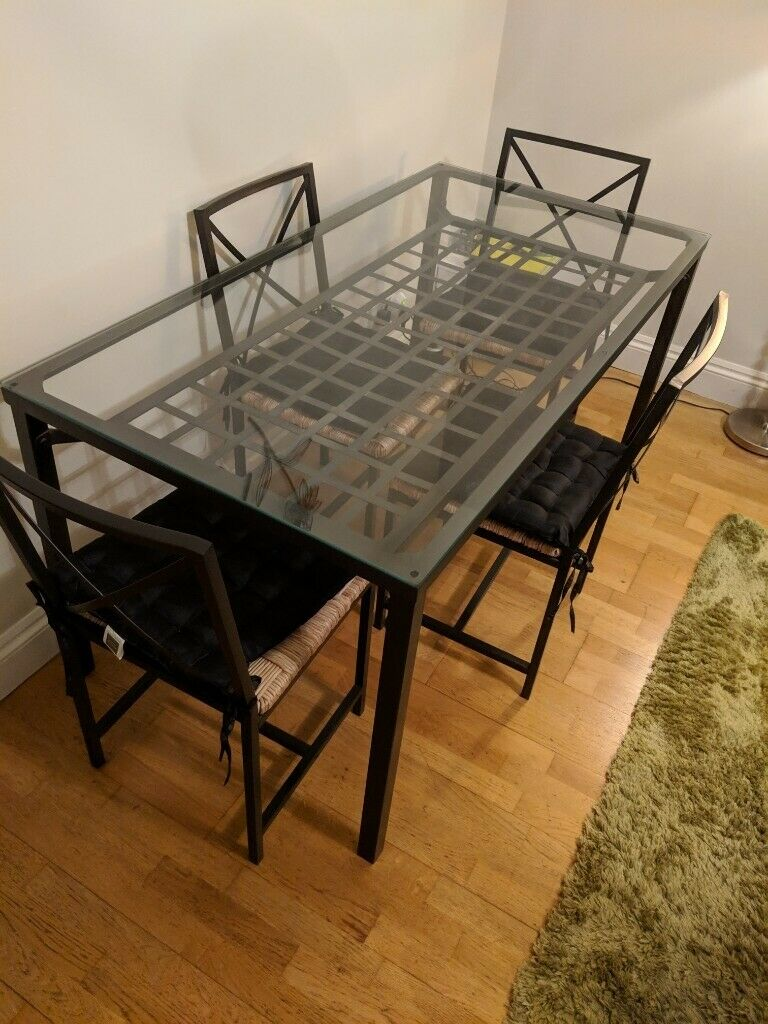 Ikea Granas Fusion Glass Dining Table With 4 Chairs In