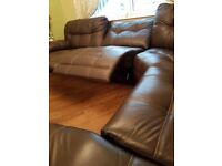 Corner genuine leather corner brown sofa