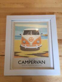 Retro campervan print in white frame.