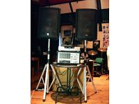 PROFESSIONAL PA SYSTEM, SPEAKERS, AMP, CDG & VIDEO PLAYER, RADIO MICS, CABLES, STANDS.