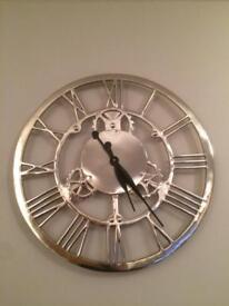 Chrome Roman numeral wall clock