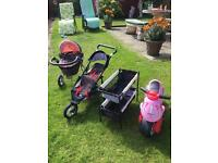 Doll pram silvercross, mamas & papas doll's double buggy & cot and girls pink scooter