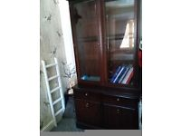 Stag mahogany bookcase with glass doors very good condition