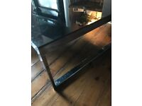 Large Black Glass & Chrome Coffee Table