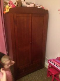 Toddler sleigh bed with pull out drawer and matching wardrobe