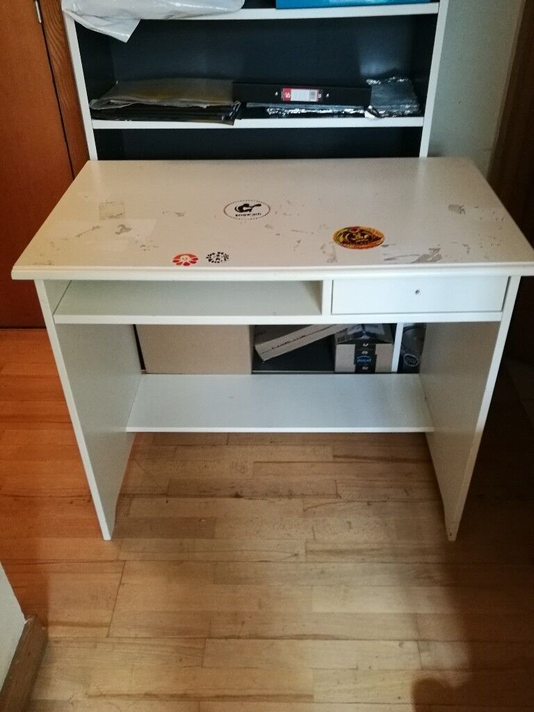 Secondhand White Wooden Desk With Shelf And 1 Small Drawer