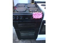 BUSH 50CM SOLID TOP ELELCTRIC COOKER IN BLACK