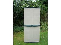 Garden storage shed, grey and green plastic, two doors, interior adjustable shelf, 152cmH x 65cmW