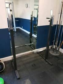 Wolverson adjustable squat and dip rack. Fully height and width adjustable.
