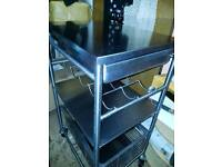 Stainless steel kitchen utility portable worktop/with draws and shelves, draw and wine/bottle rack.