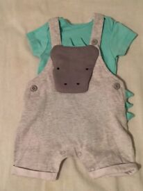 BRAND NEW: NEXT Boys newborn 2-piece rhino outfit. Never worn