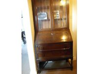 ANTIQUE BUREAU WITH GLASS-FRONT BOOKCASE ABOVE, can deliver