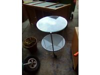 Ikea round glass coffee table on wheels