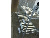 Metal bunk beds.