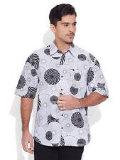 Very Me Men's Cotton Printed Grey Beach Shirt (MCPS1135)