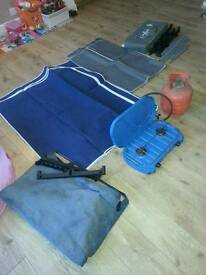 Camping double stove, gas bottle, double cupboard and larder