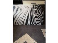 Large zebra print canvas