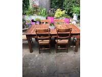 Antique solid oak heavy large dining table 6 chairs