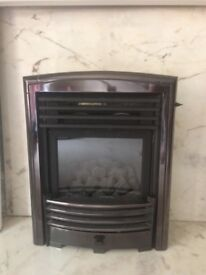 Gas Fire with marble surround and wooden mantelpiece