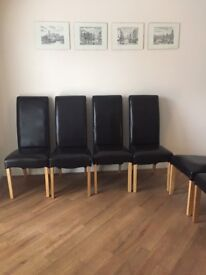 6 Brown Leather high backed ding chairs
