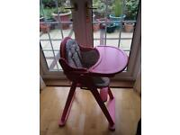 Mothercare pink wooden high chair feeding