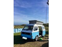 """Bluebell"". VW T25 CAMPERVAN BEACH STYLE. POP UP TOP. Petrol. 1981"