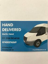 Hand Delivered van and driver hire. Ayrshire, Glasgow and surrounding areas.