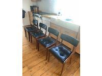 Four dining room chairs - mid century vintage - teak - simple design