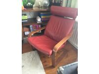 IKEA POANG ARMCHAIR CHAIR RED REAL LEATHER BROWN WOOD GOOD CONDITION
