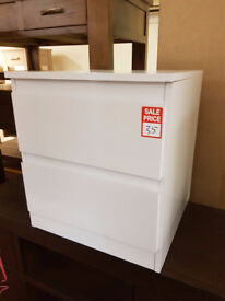 Hygena Inanna 2 Drawer Bedside Chest - White forth