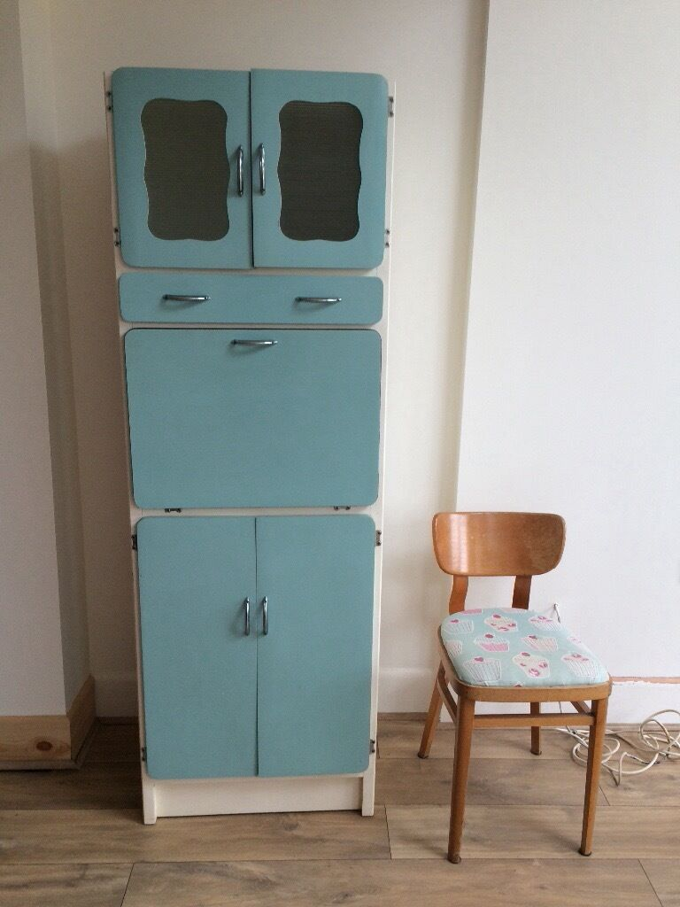 Original Vintage Slimline Kitchen 1950s 1960s Larder Unit Storage Cabinet Beach Hut Retro