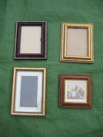 4 Various Small Wood-Effect Glass Covered Picture Frames - 4 for £4.00