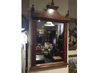 Striking Large French Empire Style Ornately Carved Cherry-wood Over-mantle Mirror
