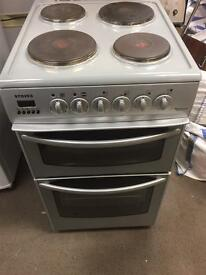 Grey stove electric double oven cooker fan assisted freestanding