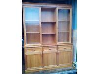 light oak dresser/display cabinet with inset lighting
