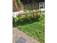Vintage solid Beechwood dining Chairs (4) in need of Restoration. Used